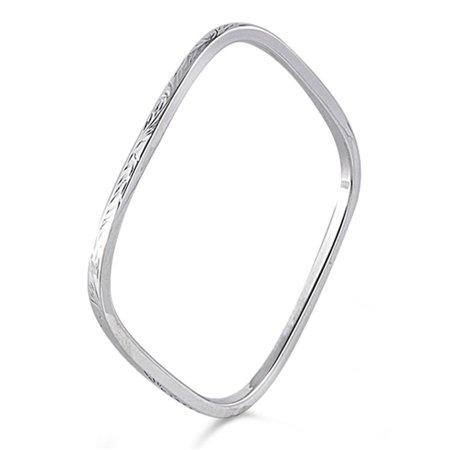 Slip-On Bangle Square Slip-on Bracelet .925 Sterling Silver