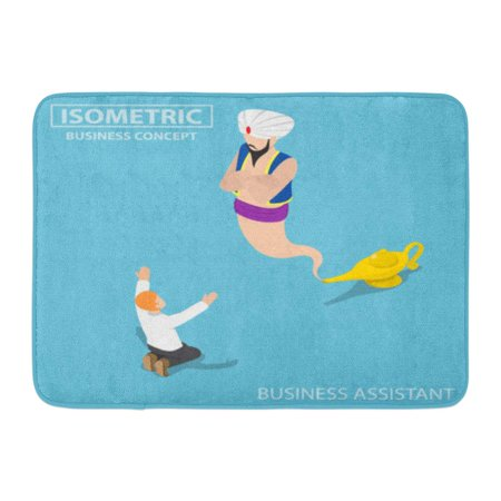 GODPOK Assistance Flat 3D Isometric Businessman and Genie Giant in The Magic Lamp Assistant and Solution Concept Rug Doormat Bath Mat 23.6x15.7 inch (Genie In The Lamp)