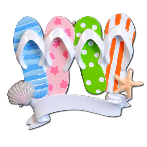 Flip Flop Travel Beach Family of 4 Personalized Christmas Ornament DO-IT-YOURSELF
