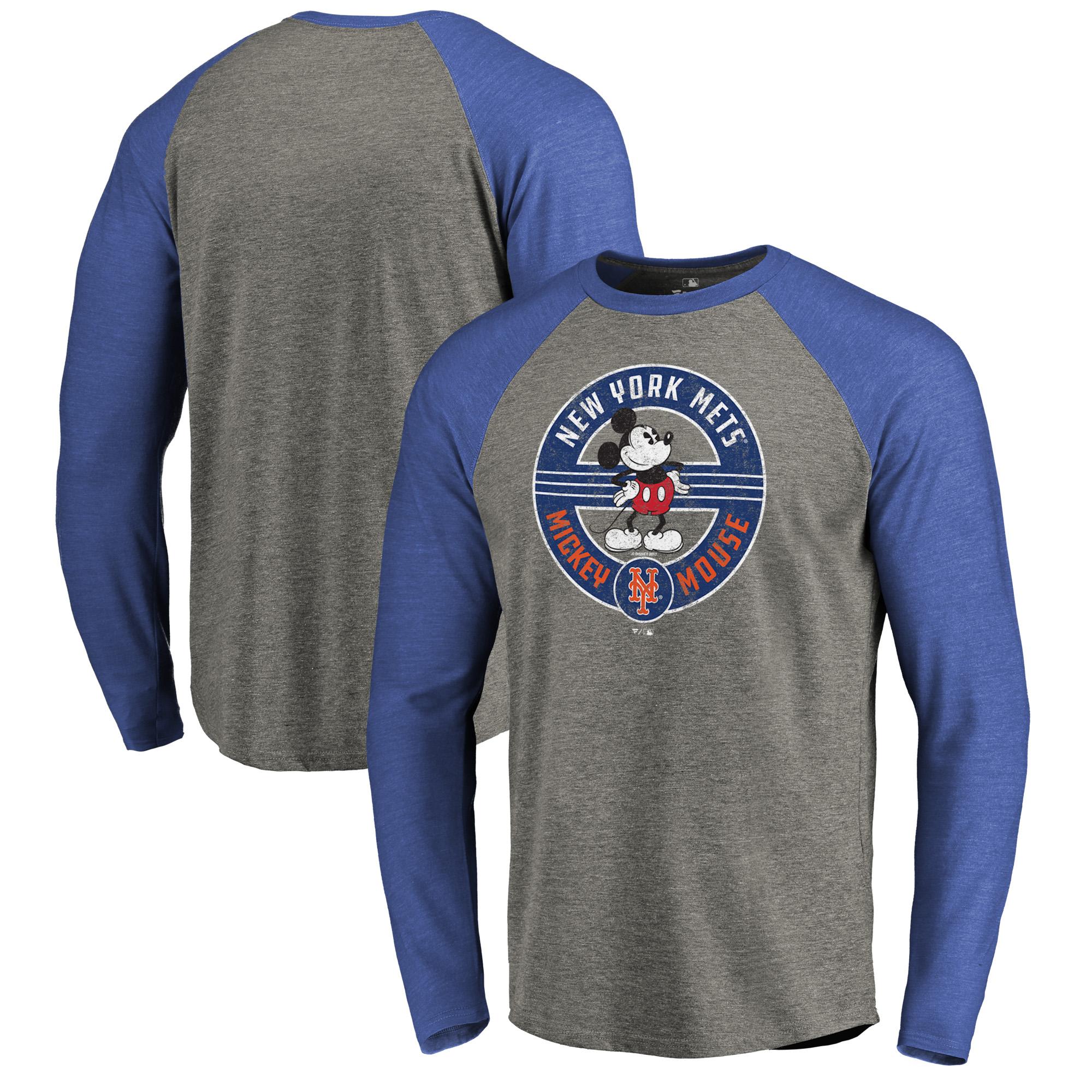 New York Mets Fanatics Branded Disney Mickey's True Original Seal Long Sleeve Tri-Blend Raglan T-Shirt - Heathered Gray