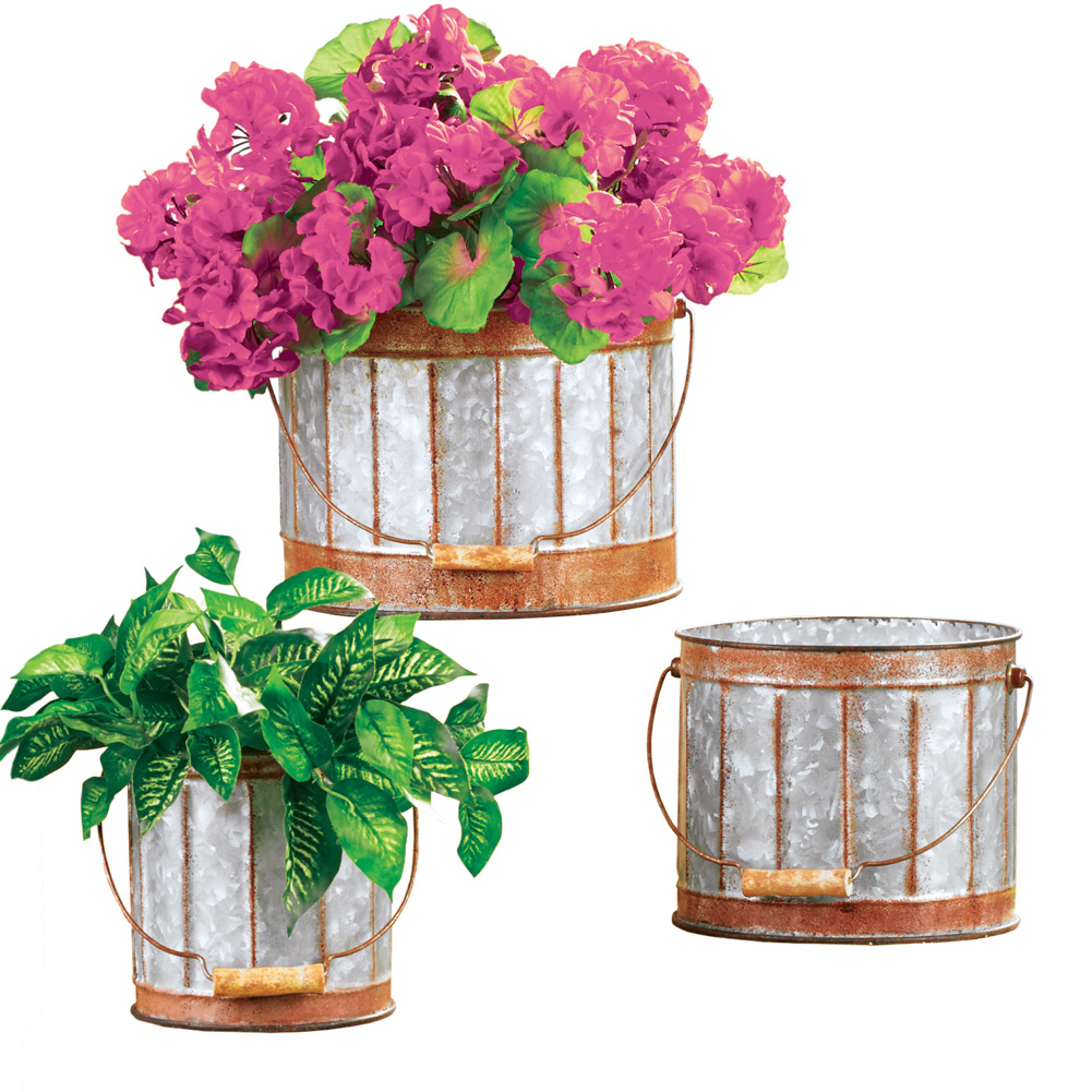 Rustic Galvanized Metal Planters with Handle and Rust-Colored Trim - Set of 3 - Home or Garden Decorative Accent