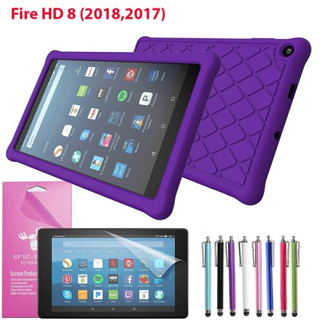Amazon Fire HD 8 Tablet (8th Generation 2018) Silicone Case, Epicgadget Slim Anti-Slip Soft Rubber Silicone Gel Case Cover For Fire HD 8.0 Inch 2018 (Purple) ()