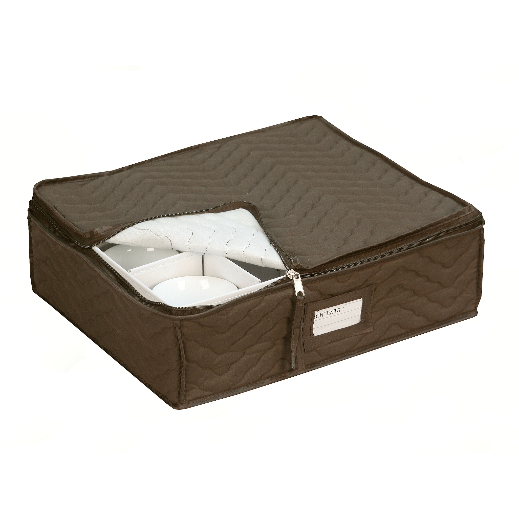 Quilted China Cup Storage in Brown by Richards Homewares
