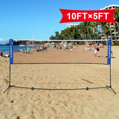 Portable Tennis Nets (Costway Portable 10'x5' Badminton Beach Volleyball Tennis Training Net w/ Carrying)