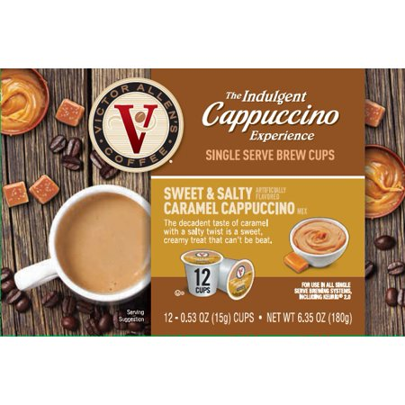 Victor Allen's Indulgent Cappuccino Experience Sweet & Salty Caramel K-Cup Coffee Pods, 12 Count