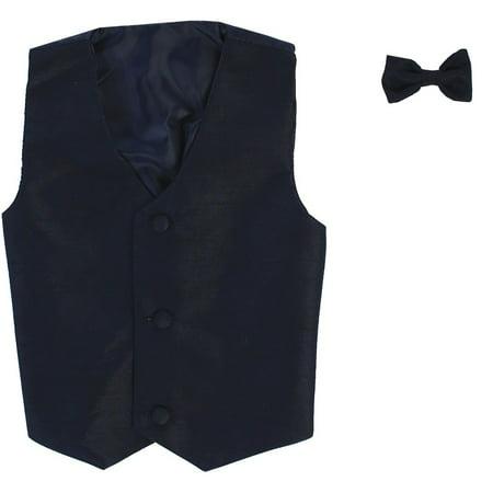 Little Boys Navy Poly Silk Vest Bowtie Special Occasion Set 4/5