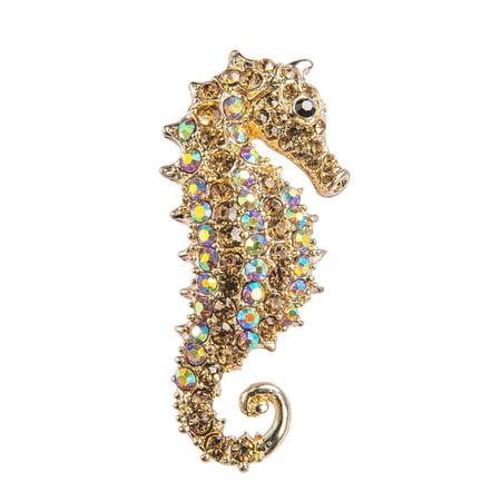 Feinuhan 6 Color Seahorse Fish Aurora Borealis Iridescent Crystal Rhinestone Pendant Animal Brooch Pin