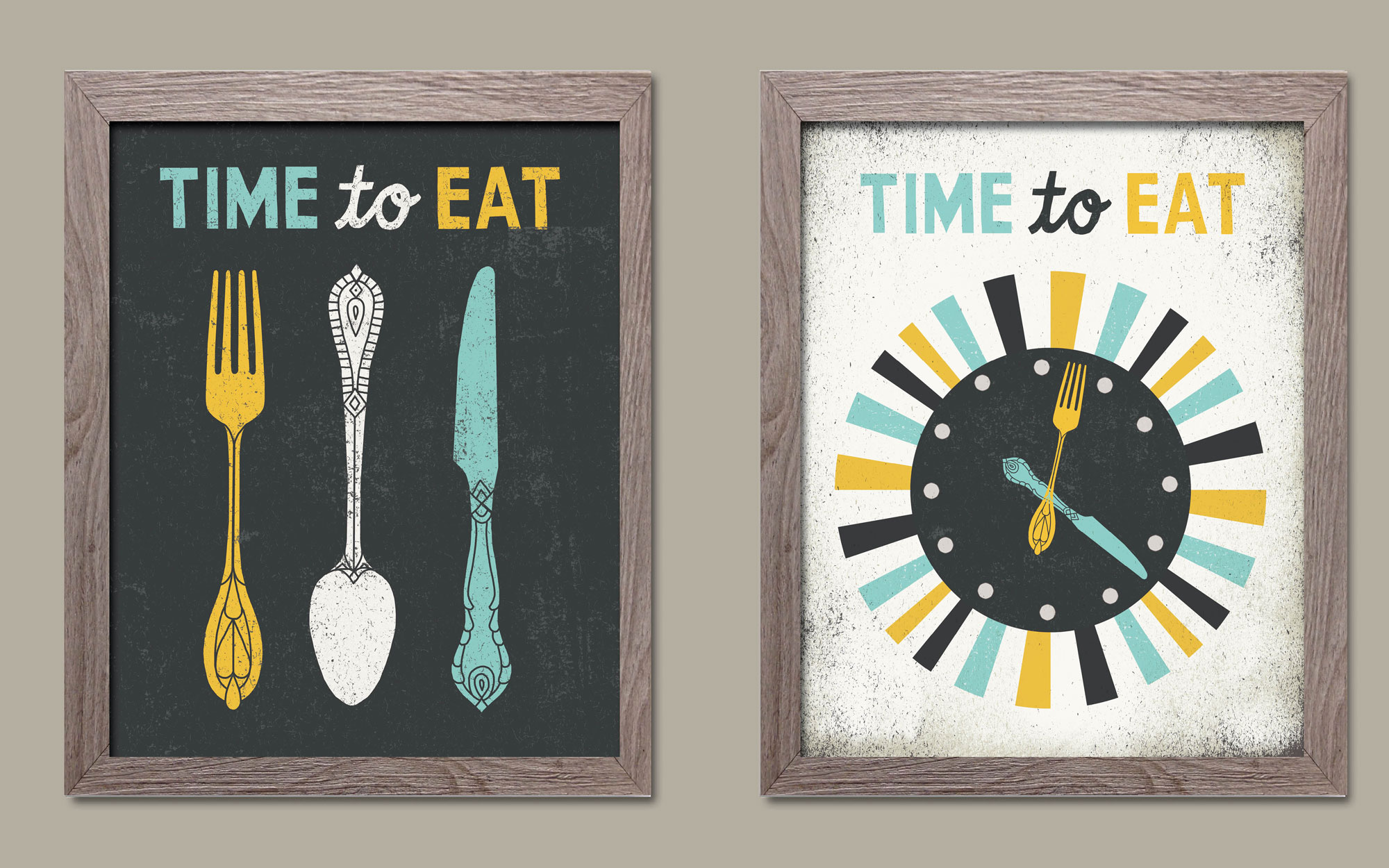 Adorable Grey Teal And Yellow Time To Eat Clock Fork Spoon Knife Set By Michael Mullan Kitchen Decor Two 11x14in Distressed Framed Prints Ready Hang Walmart Com