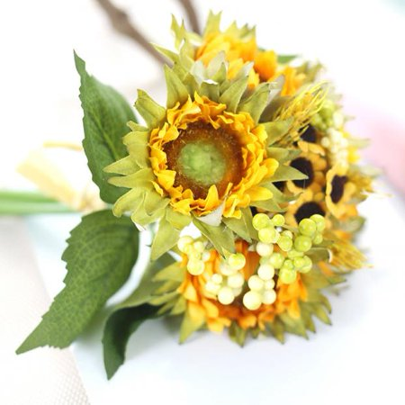 Iuhan 5 Heads Beauty Fake Sunflower Artificial Silk Flower Bouquet Home Floral Decor