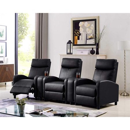 3 Seat Push Back Recliner Chair with 2 Console, Black Sectional Home Theater Seating Padded Seat
