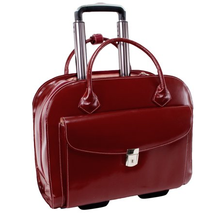 McKlein GRANVILLE, Wheeled Ladies' Laptop Briefcase, Top Grain Cowhide Leather with Faux Leather Trim, Red (96146A)