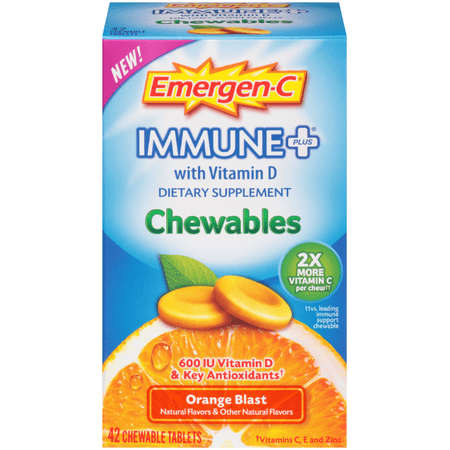 - Emergen-C Immune+ Chewables System Support Dietary Supplement Tablet With 600 IU Vitamin D (Orange Blast Flavor, 42 Count)