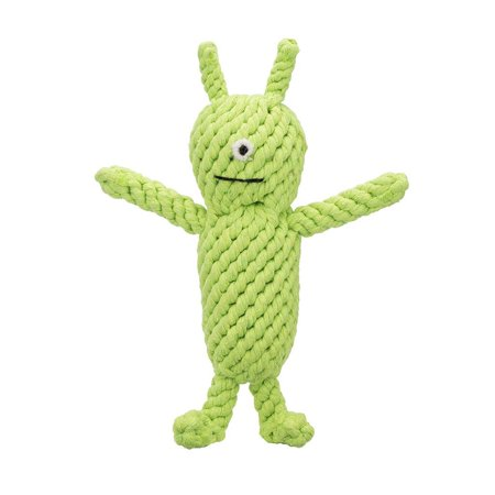 """Jax & Bones Norman The Green Martian 10"""" One Size Rope Dog Toy"""