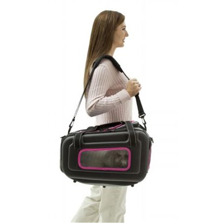 The Airline Approved Collapsible Lightweight Ergo Stow-Away Contoured Pet Carrier, Black And Pink - Medium