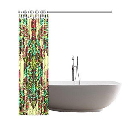 GCKG Underwater Sea Animal Turtle Shower Curtain, Ethnic Tribal Mandala Tortoise Polyester Fabric Shower Curtain Bathroom Sets 66x72 Inches - image 2 de 3