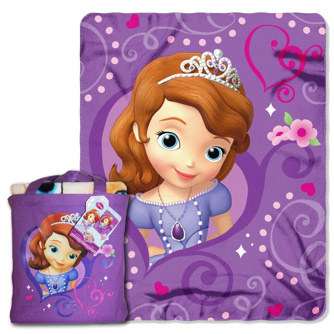 "Disney ""Sofia The First, Royalty Awaits"" Silk Touch 40 by 50-Inch Throw with Reusable Canvas Tote Set"