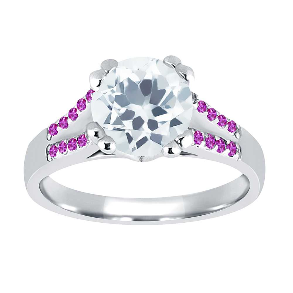 0.95 Ct Round Sky Blue Aquamarine Pink Sapphire 18K White Gold Ring by