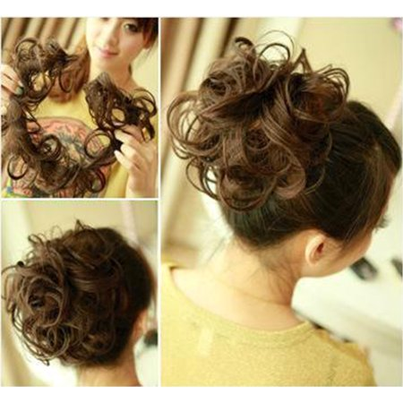 Hair Extensions Combs (FLORATA Hair Bun Extensions Wavy Curly Messy Hair Extensions Donut Hair Chignons Hair Piece Wig Hairpiece)