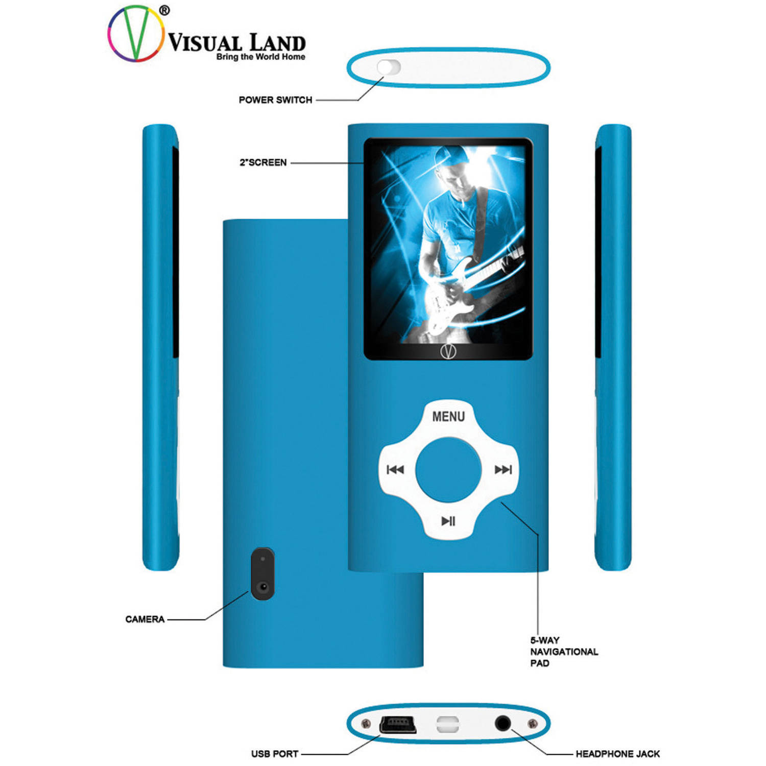 """Visual Land Rave 8GB Media Player with 2"""" Screen and In-Ear Headphones"""