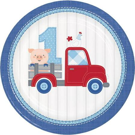 Creative Converting 339867 Farmhouse 1st Birthday Boy Paper Plates, 8 Count - image 1 de 1