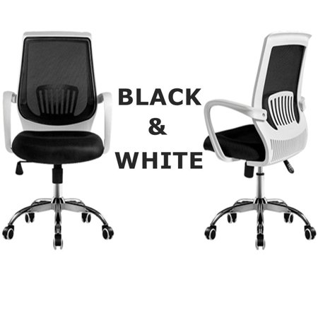 Magshion Modern Mid Back Mesh Drafting Computer Office Desk Chair Commercial Task Chairs Black/White Back Drafting Chair Fabric