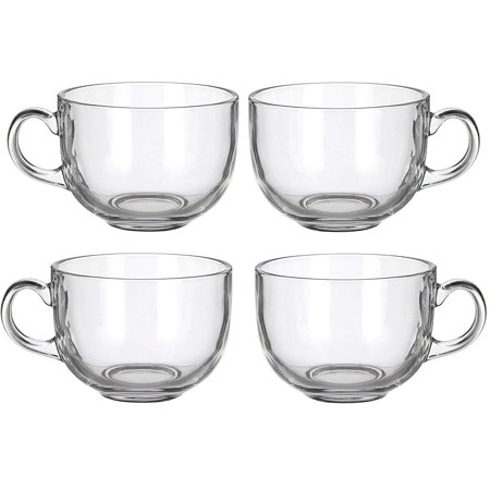 Set of 4 Large 16oz Glass Wide Mouth Coffee Mug Tea Cup With Handle (Four Coffee Mugs)