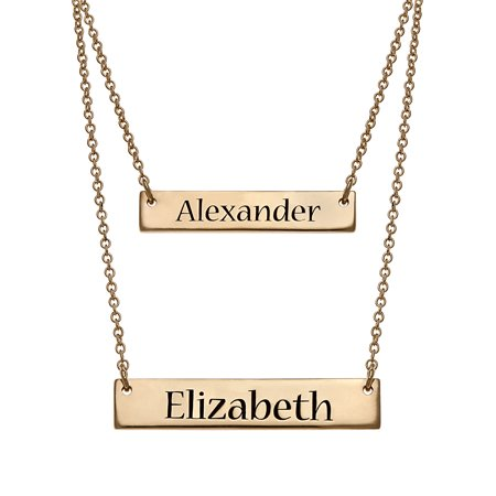 Personalized Women's Sterling Silver or Gold over Silver Engraved Double Bar Layered Necklace, 16
