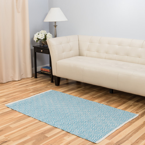Harbormill Hand-Loomed Turquoise Indoor/Outdoor Area Rug