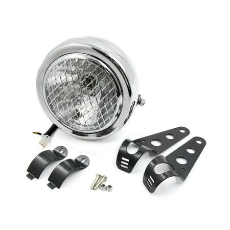 6.3inch Dia 12V 35W Silver Tone Yellow Light Headlamp w Black Bracket for Motorcycle - image 3 de 3