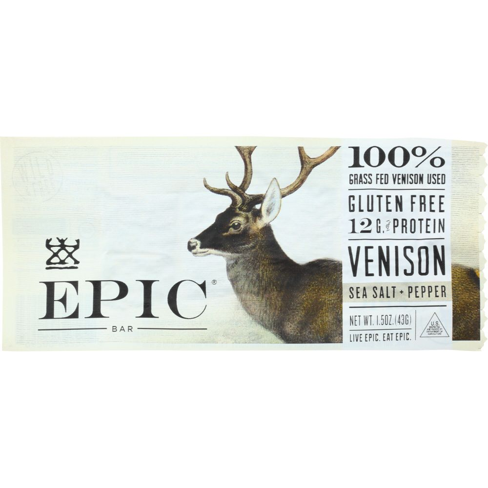 Epic Venison Sea Salt Pepper Protein Bar, 1.5 Oz (Pack Of 12) by