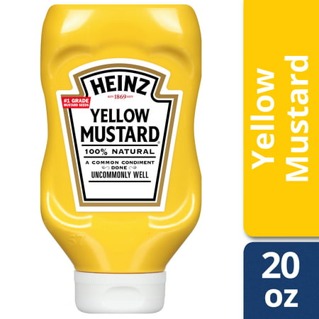 - (3 Pack) Heinz Yellow Mustard, 20 oz Bottle