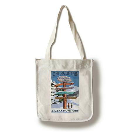 Big Sky, Montana - Lone Mountain - Ski Destinations Sign- Lantern Press Artwork (100% Cotton Tote Bag -