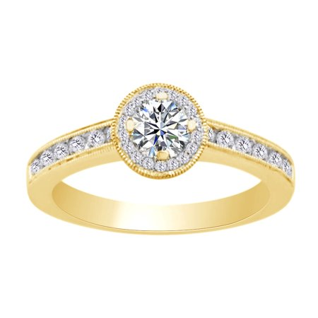 Womens Engagement Wedding Ring In 14k Yellow Gold With 0.69 CT Round White Natural Diamond With Ring Size 10 10 Ct Diamonds Ring