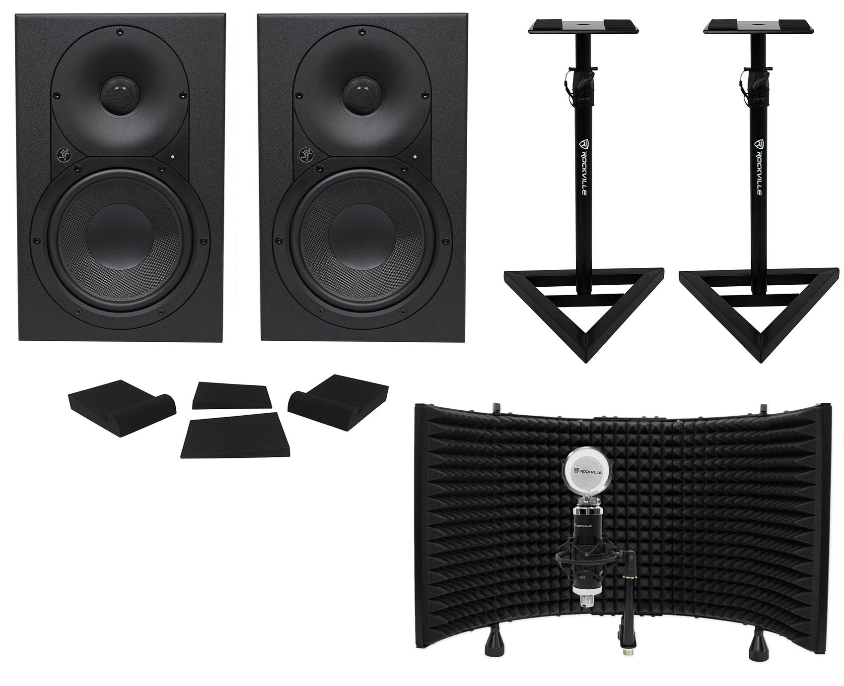 "(2) Mackie XR624 6.5"" Powered Studio Monitors+Stands+Pads+Mic+Isolation Shield by Mackie"