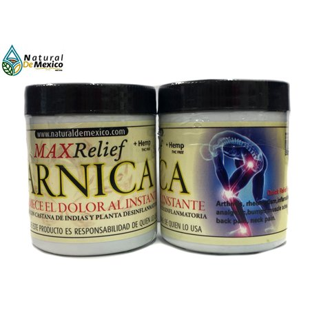 2 Arnica Max Relief 120 grms Pain Reliever Arthritis Relief, Back, Neck, Knee Joint, Muscle Repair Extract 100% Natural de Mexico