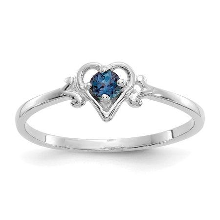 14K White Gold Synthetic Alexandrite Birthstone Heart Ring - image 2 de 2