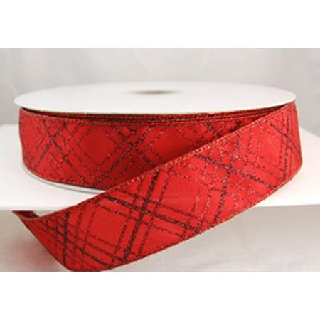 Criss Cross Ribbon - Scarlett CrissCross Wired Red Diagonal Striped Glitter Christmas Ribbon 1 1/2