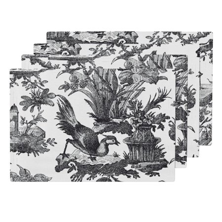Cloth Placemats Toile Chinoiserie Asian Classic Black And White Antique Set of 4