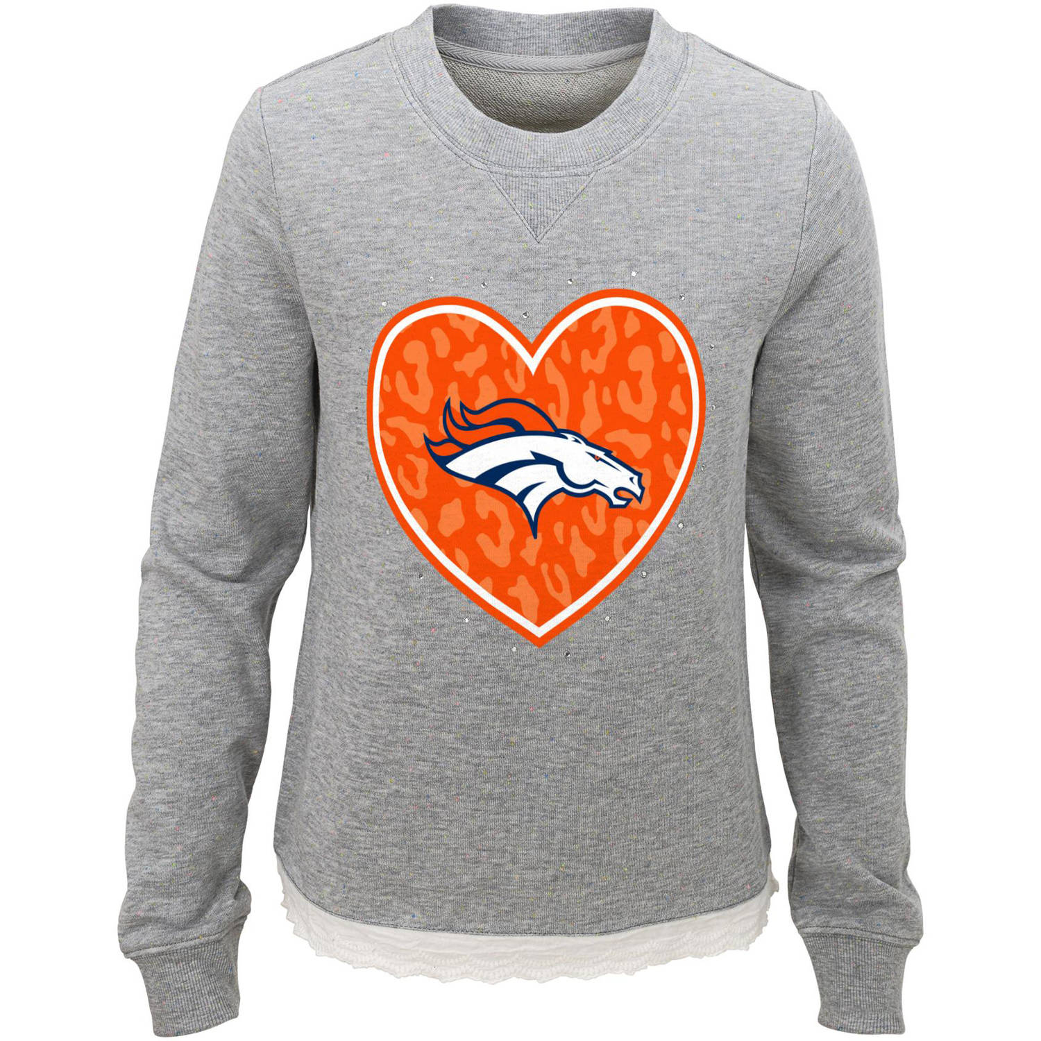 NFL Girls Broncos Long Sleeve French Terry Crew Neck Fleece