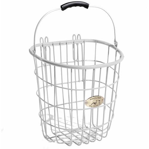 Surfside Rear Pannier Basket with Hooks, White