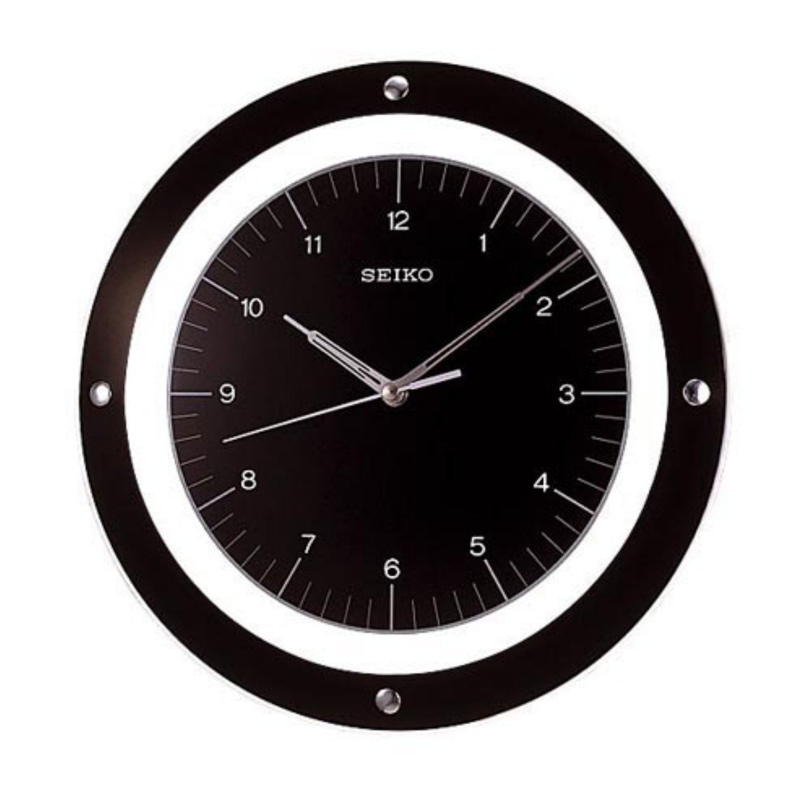 Seiko Black Quiet Sweep Floating 12.6 Inch Wall Clock