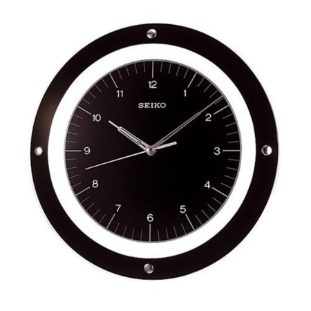 Seiko Black Quiet Sweep Floating 12 6 Inch Wall Clock