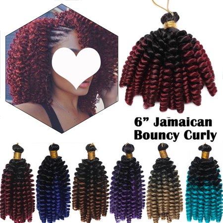 S-noilite 6 inch Ombre Fluffy Spring Twist Crochet Braiding Hair Bomb Twist Crochet Synthetic Hair Extension (Best Ombre Hair For Black Hair)