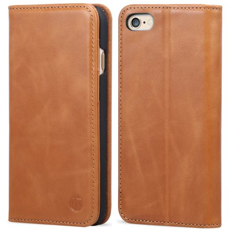 Inones Iphone 6S Plus 6 Plus Case Genuine Leather Case Vintage 6S Plus 6 Plus Flip Cover With 3 Credit Card Slots Magnetic Closure Protective Cover For Apple Iphone 6S Plus 6 Plus   Brown