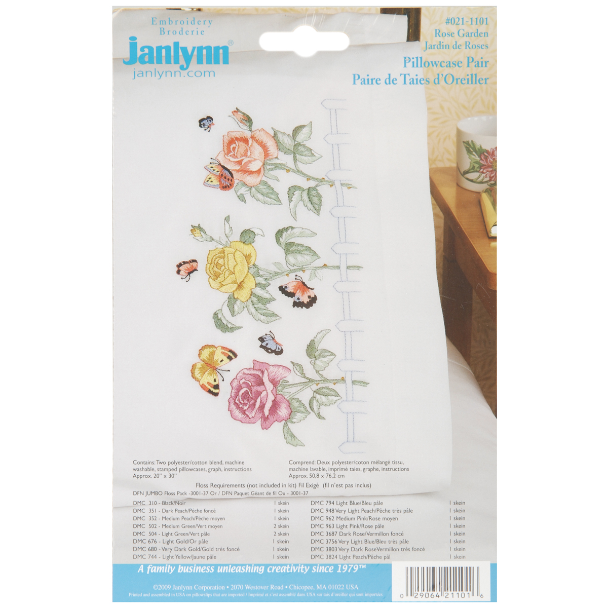 "Janlynn Stamped Cross Stitch Pillowcase Pair 20""X30""-Rose Garden"