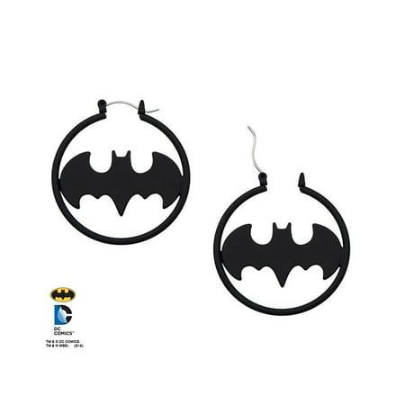 Dc Batman Black Plated Hoop Earrings Licensed Jewelry Material