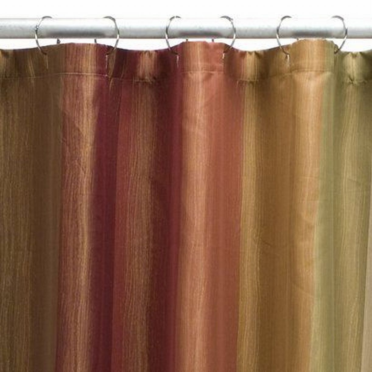 Attractive Threshold Earth Tone Multistripe Fabric Shower Curtain Rust Brown Gold