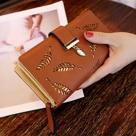 Women Hollow Out Leaf Long Clutch Purse Card Holder Bifold Leather Wallet (Design Go Shoulder Wallet)