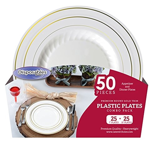 """Premium China dishes design Combo Heavy-weight Bone with Gold Trim Round Plastic Party Plates   50 Count - 25 x 7""""inch 25 x 10""""   Disposable - Reusable Dinner Plates for Weddings, Parties, or Event"""