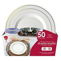 "Disposables To Go Premium Plastic Lunch Plates, 25 7"" Plates, 25 10"" Plates"